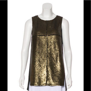 Lafayette 148 Olio Bronze Sequin Sleeveless Top